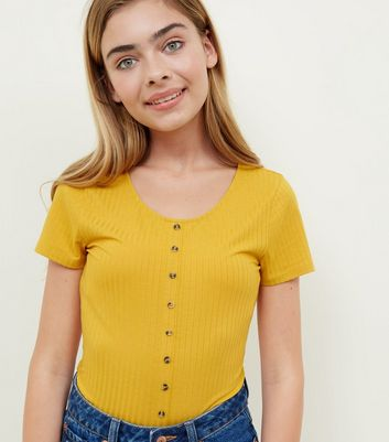 Girls Mustard Ribbed Button Front T-Shirt