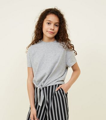 Teens Grey Tie Front T-Shirt