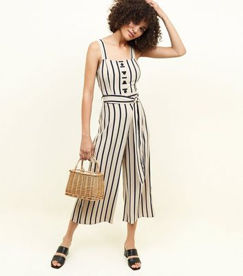 Brown Stripe Button Through Jumpsuit