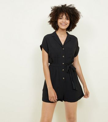 Black Revere Collar Tie Waist Playsuit by New Look