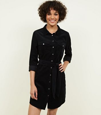 Black Corduroy Shirt Dress