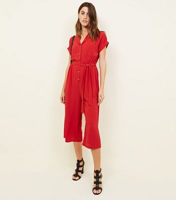 Red Revere Collar Culotte Jumpsuit