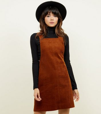 Rust Corduroy Button Side Pinafore Dress