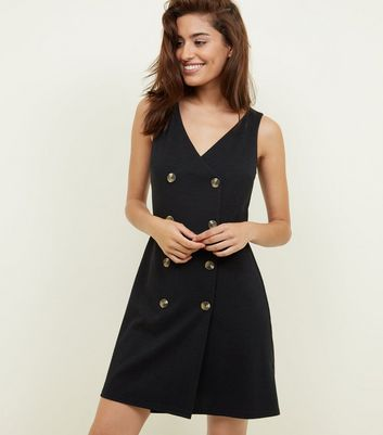 Black V Neck Double Breast Pinny Dress by New Look