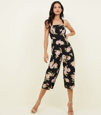 Black Floral Cross Strap Culotte Jumpsuit