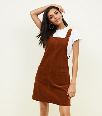 Rust Corduroy Pocket Front Pinafore Dress