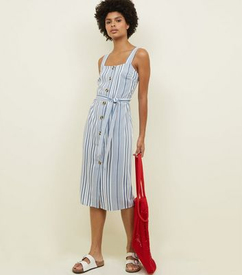 White and Blue Stripe Button Front Midi Dress