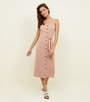 Pale Pink Belted Button Front Midi Dress