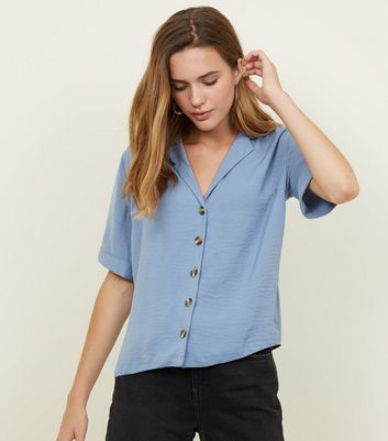 Pale Blue Button Front 1/2 Sleeve Boxy Shirt