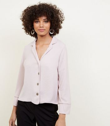 Pale Pink Crepe Revere Collar Boxy Shirt