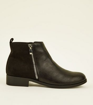 Girls Black Side Zip Suedette Panel Ankle Boots
