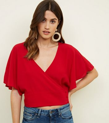 Red Button Wrap Front Crop Top