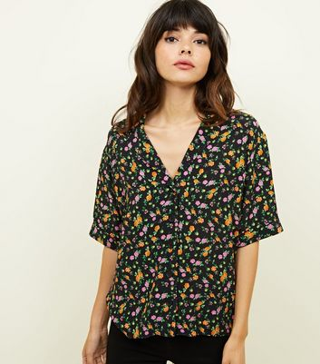 Black Bright Floral V-Neck Boxy Shirt