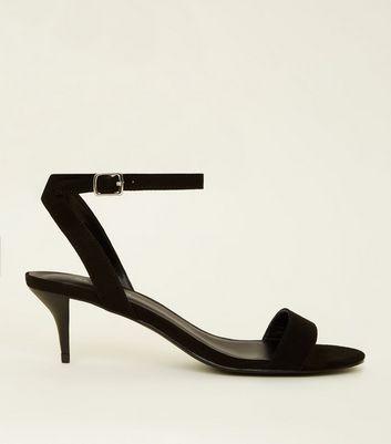 Black Suedette Kitten Heel Sandals by New Look