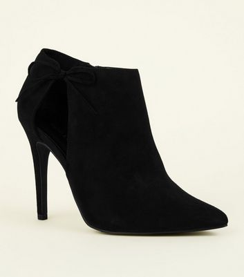 Black Suedette Bow Side Stiletto Boots by New Look