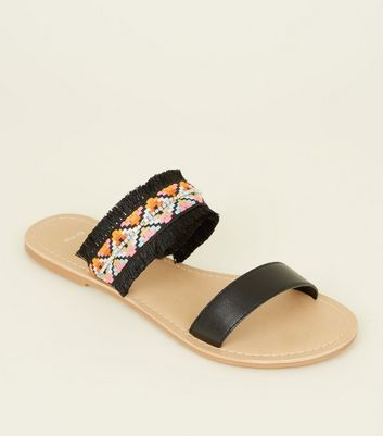Wide Fit Black Leather Woven Strap Sandals