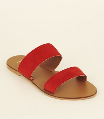 Wide Fit Red Suede Double Strap Sliders by New Look