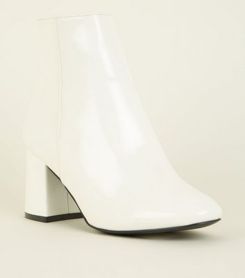 Wide Fit White Patent Ankle Boots by New Look