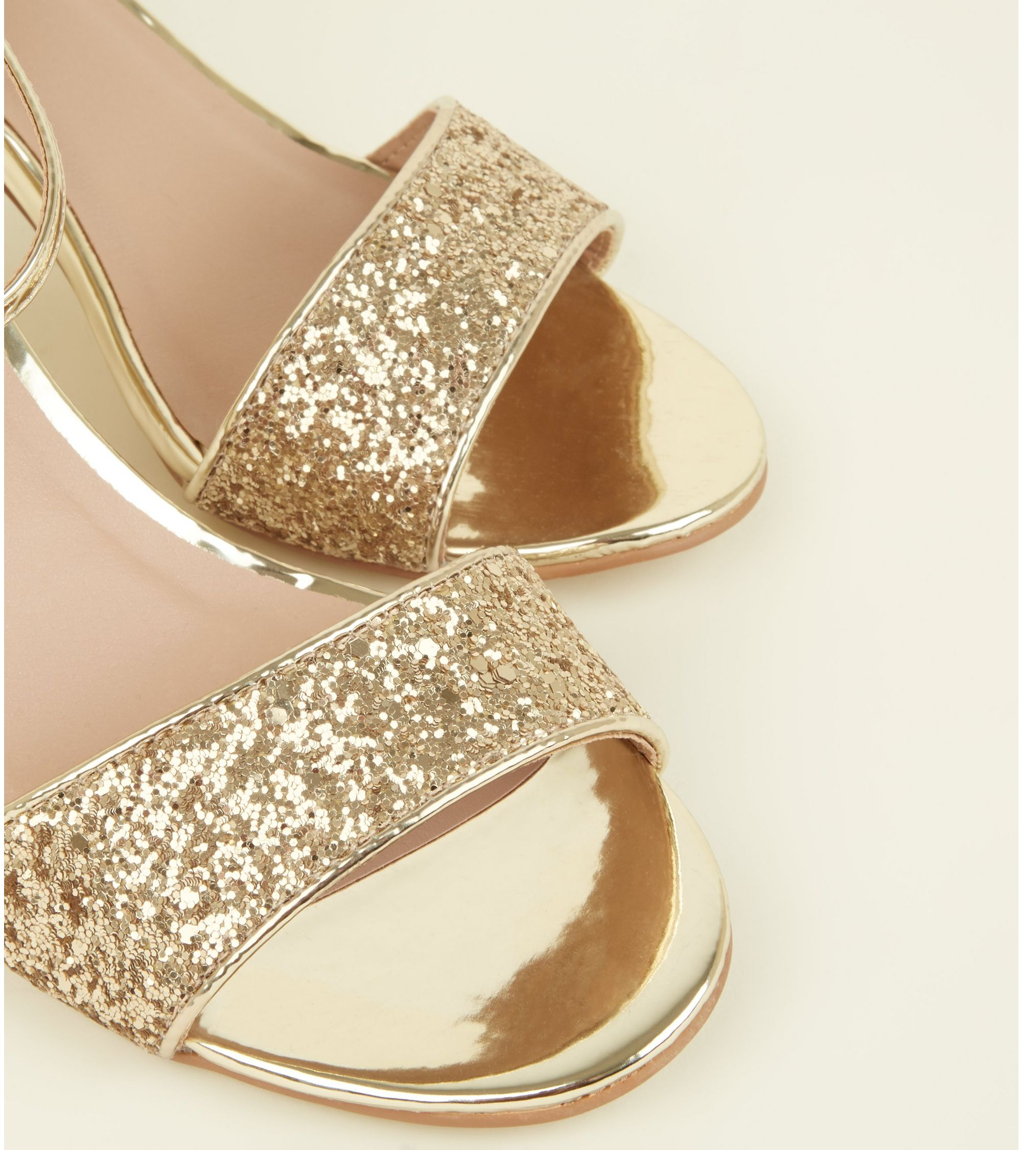 d9f554ea853 New Look Wide Fit Gold Glitter Cone Heels At 22 99 Love The Brands