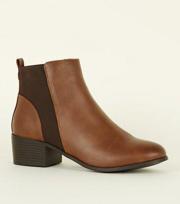 9bae118f4de Shoptagr   Tan Comfort Low Block Heel Chelsea Boots by New Look