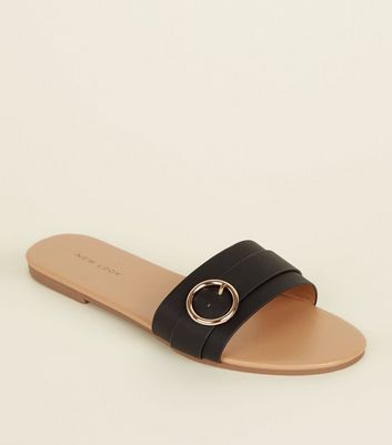 Black Circle Buckle Strap Mules
