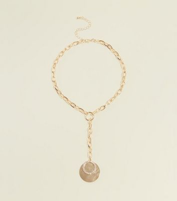 Gold Coin and Chain Link Lariat Necklace