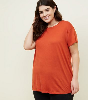 Curves Orange Cotton Blend T-Shirt