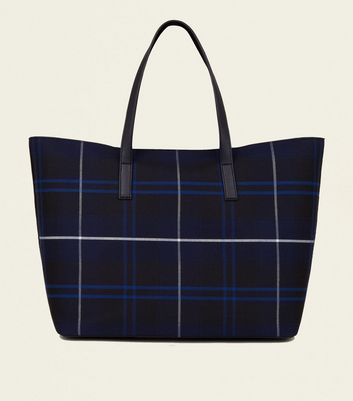 Blue Check Tote Bag