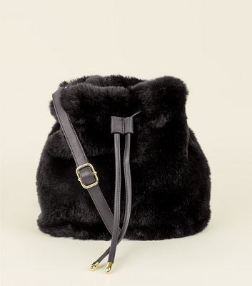 Black Faux Fur Duffle Bag