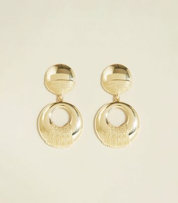 Gold Chain Wrapped Disc Drop Earrings