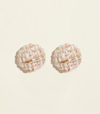 Cream Boucle Dome Stud Earrings