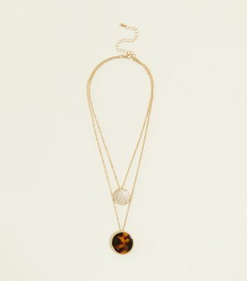 Brown Tortoiseshell Layered Disc Pendant