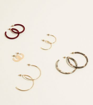 5 Pack Red and Gold Hoop Earrings