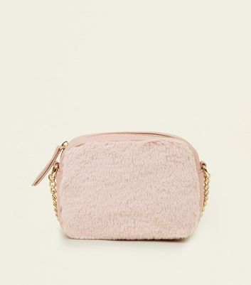 Nude Faux Fur Cross Body Bag