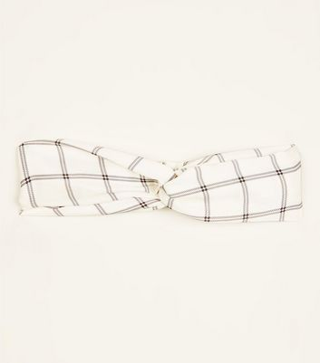 White Grid Check Twist Knot Satin Headband