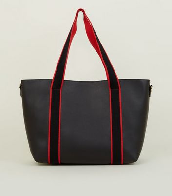Red Contrast Strap Leather-Look Tote Bag