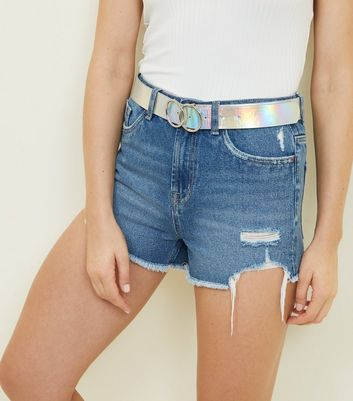 Holographic Circle Buckle Belt