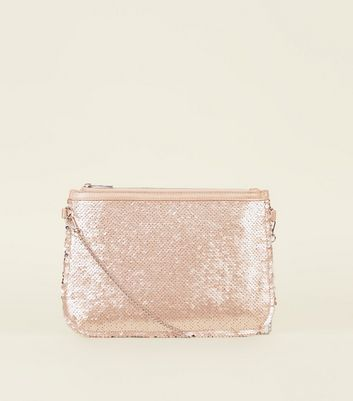 Rose Gold 2 Way Sequin Clutch Bag