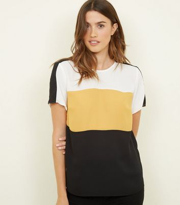 Black Colour Block Stripe Short Sleeve Top