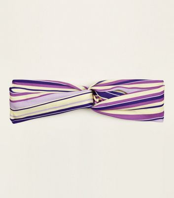Purple and Yellow Stripe Twist Knot Headband