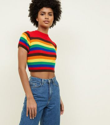 Cameo Rose Rainbow Knitted Crop Top
