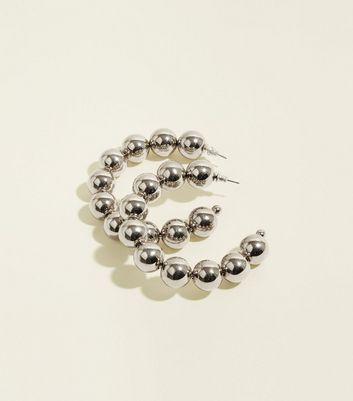 Silver Chunky Bead Hoop Earrings by New Look