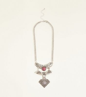 Silver Layered Plate Necklace