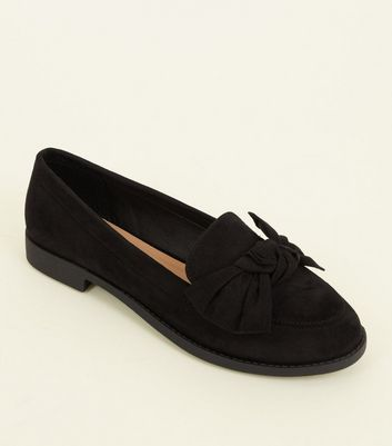 Black Suedette Twist Bow Front Loafers