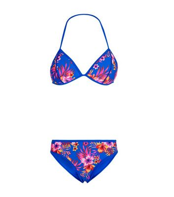 Girls Blue Tropical Print Scuba Bikini