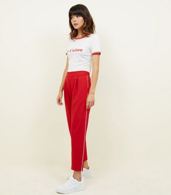 Dark Red Side Piped Stripe Tapered Trousers