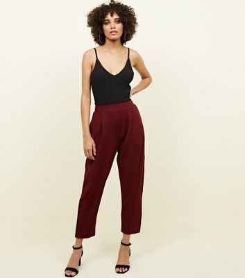 Burgundy Piped Side Stripe Tapered Trousers
