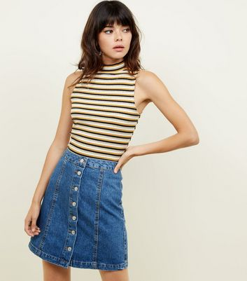Tall Blue Button Front Denim Mini Skirt