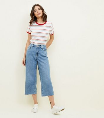Blue Fray Hem Cropped Wide Leg Jeans