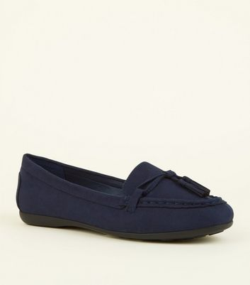 Wide Fit Navy Suedette Tassel Loafers by New Look